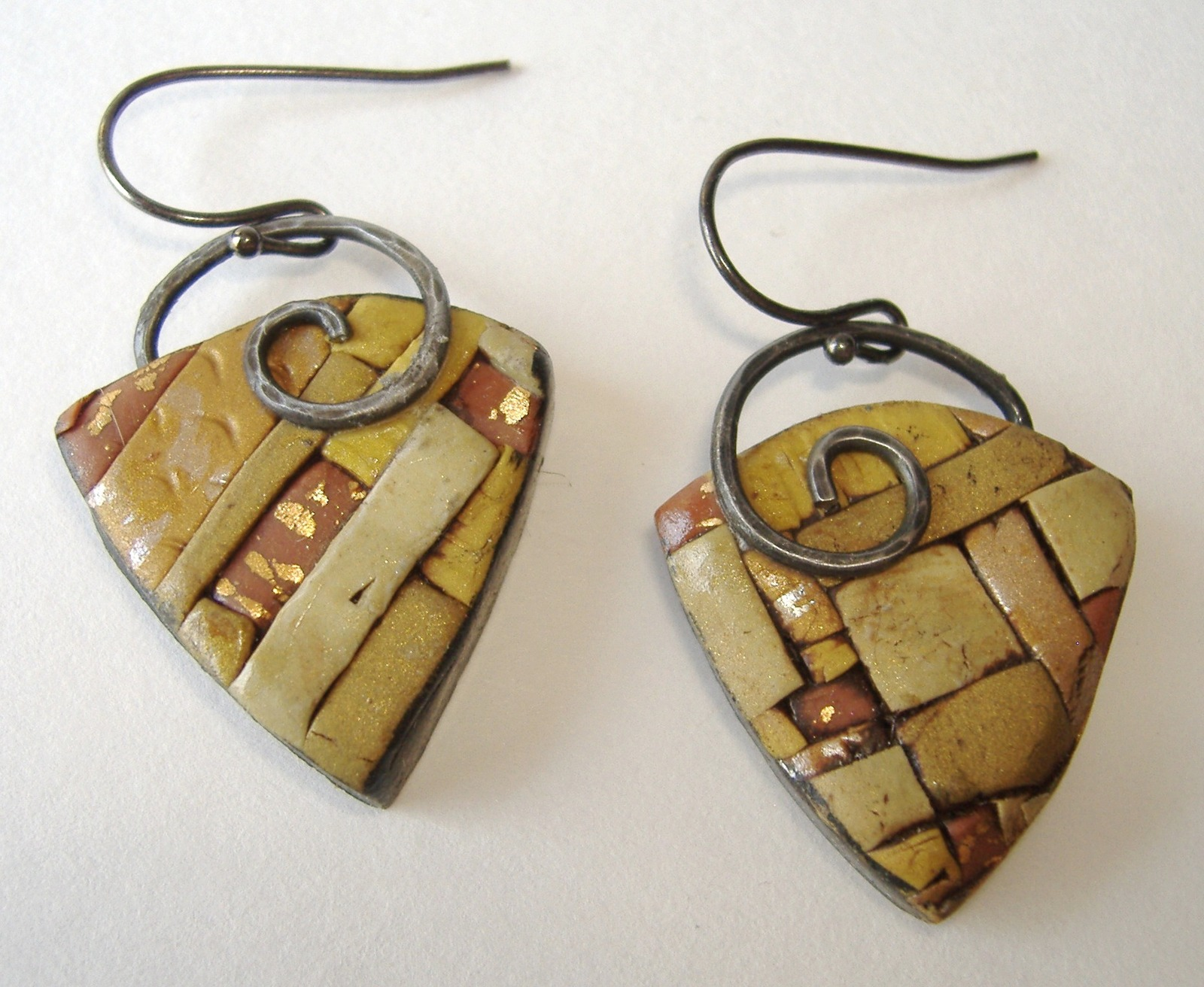 Primary image for Bamboo Triangle Earrings Unique Mosaic Polymer Handmade Pierced Green