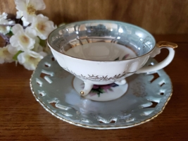 Blue-Grey Lusterware Footed Floral Teacup and Saucer - $15.95