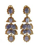 Diamonds, Tanzanite, 14k rose gold Chandelier Earrings - $4,939.00