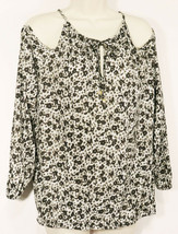 Michael Kors Womens Floral Cold Shoulder Shirt S Small Olive White Tie Neck EUC - $27.99