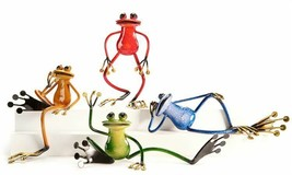 Set of 4 - Metal Frog Design Figurines - 4 Different Poses 4 Colors