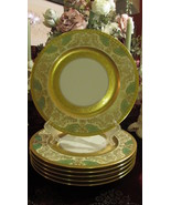 Pickard China P59-11 Gold & Green Acanthus With Urns Service Plates - Se... - $600.00