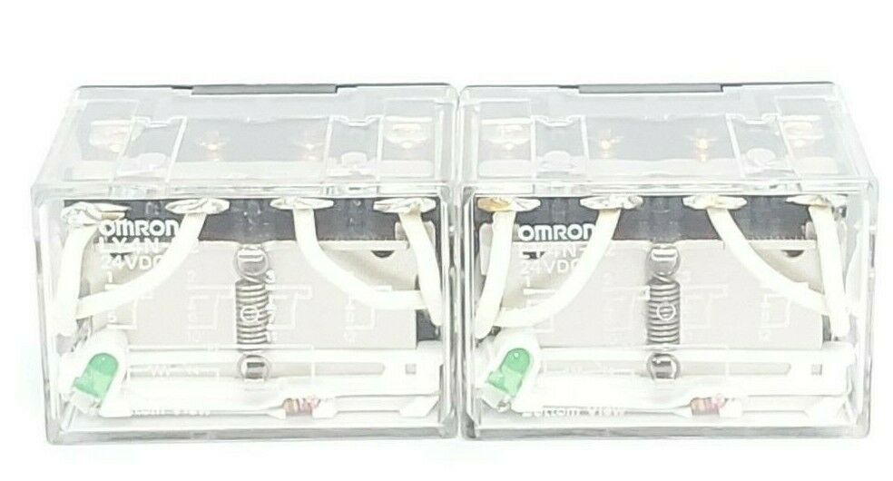 LOT OF 2 NEW OMRON LY4N-D2 24VDC RELAYS LY4ND2