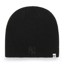 New York Yankees 47 Brand Black On Black Hat BEANIE/SKULL Cap New & Licensed - $14.46