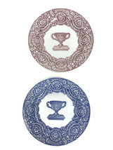 2 Spode England Warwick Vase Historic Transferware Dinner Plates Blue Ro... - $32.73
