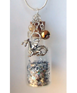 Glass Bottle Necklace Handcrafted Custom Made Gemstones Charms Glitter S... - $24.99