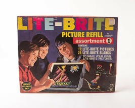 1968 LITE BRITE Picture Refill Witch Skiier Cowboy Indian Little Bo Peep Solider - $19.79