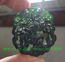 Free Shipping - good luck Hand carved Natural  jadeite jade carved Parrot charm  - $23.99