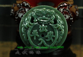 Free Shipping - good luck handmade good luck Real Natural Green jade carved Pi Y image 2