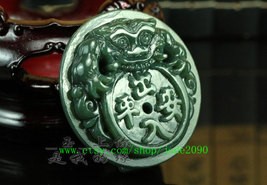 Free Shipping - good luck handmade good luck Real Natural Green jade carved Pi Y image 3