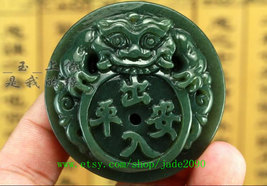 Free Shipping - good luck handmade good luck Real Natural Green jade carved Pi Y image 4