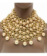 Cream Faux Pearl Oversized Cleopatra Statement Necklace Pageant Drag Que... - $65.55