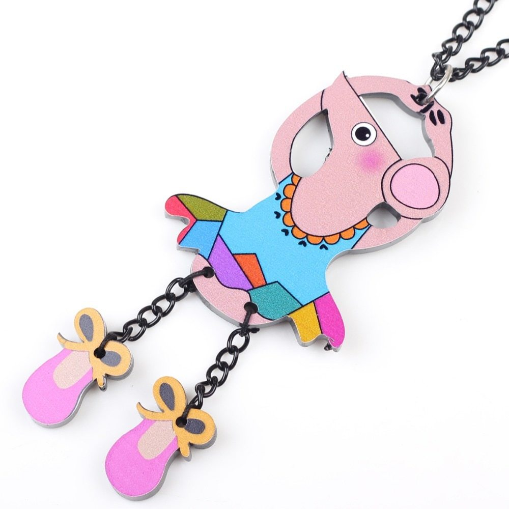 dance mouse necklace pendant acrylic  2015 news accessories spring summer cute d image 2