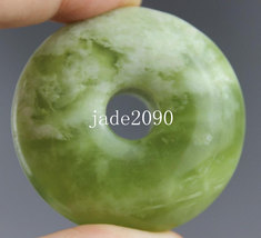 Free Shipping - Peace buckle pendants good luck Natural green jade carved Blessi - $26.99