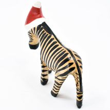 Hand Carved & Painted Jacaranda Wood Santa Hat Zebra  Safari Christmas Figurine image 3
