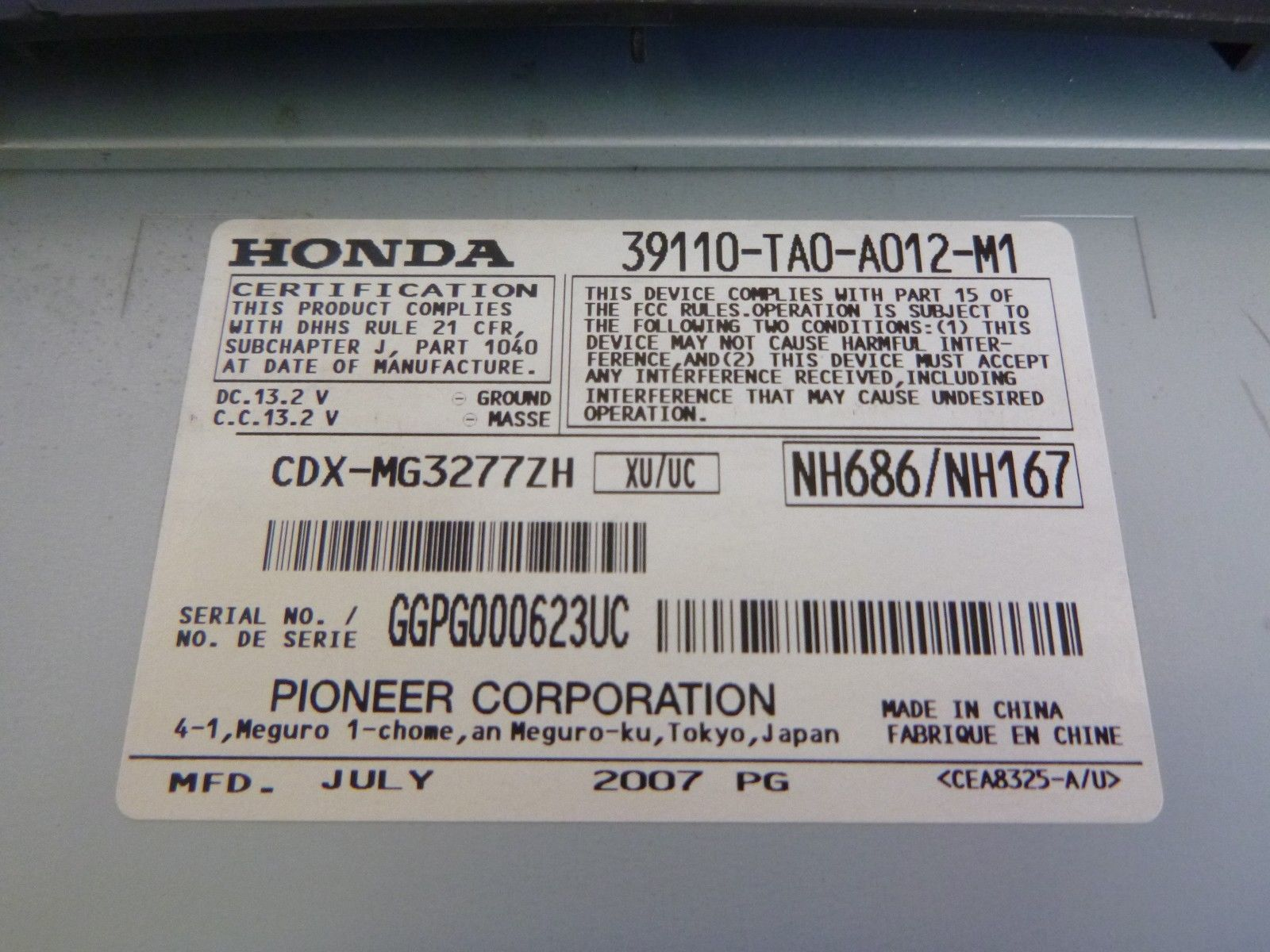 08 09 10 11 12 Honda Accord Premium Remote 6 Cd Player 39110-TA0-A012 RC202