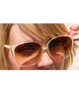 White Striped Vintage Sunglasses Large Amber Le... - $23.99