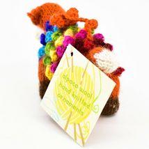 Handknit Alpaca Wool Whimsical Hanging Red Fox Ornament Handmade in Peru image 3