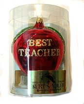 Kurt Adler Glass Apple Best Teacher Ornament 3.5 inches - $14.85