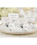Set of 4 Lucky Elephant Place Card Holders Silver Wedding Favors Place C... - $10.57
