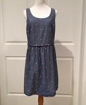 Ann Taylor LOFT Blue Denim Pink Polka Dots Dress Sz 10 - $27.99