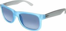 Ray-ban Justin Raro Gafas de Sol RB4165 6028/55 54mm Goma Azul Gris Azul... - $195.68