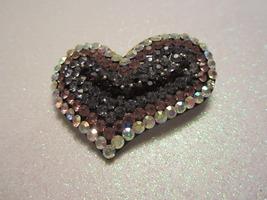 Vintage Aurora Rhinestone Heart Shape Brooch In Antique Silver Tone - $9.99