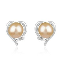 Pink Pearl 925 Sterling Silver Stud Earrings Gemstone Jewelry - $19.80