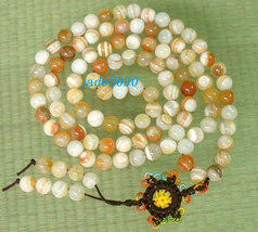Free Shipping -Tibetan Buddhist 37'' Natural white agate / Natural yellow agate  - $29.99