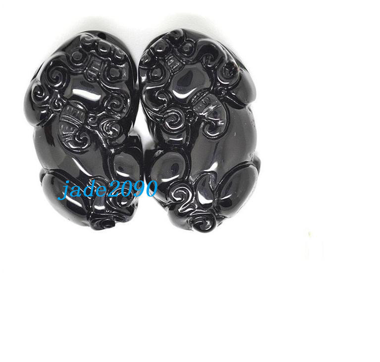 Primary image for Free Shipping - A pair Natural Black jade  / natural jade jadeite Carved luck Pi