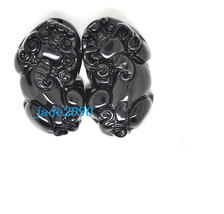 Free Shipping - A pair Natural Black jade  / natural jade jadeite Carved luck Pi - $25.99