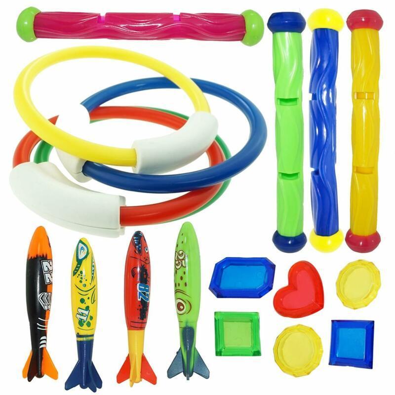 Joyin Underwater Swimming/Diving Pool Toy Rings (4 Pcs) , Diving Sticks (4 Pcs)