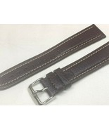 20mm water resistant genuine calf leather Long watch band brown - $23.52