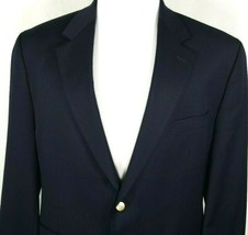 Chaps Blazer Size 46 Regular Two Button Navy Blue with Gold Buttons 100%... - $44.50