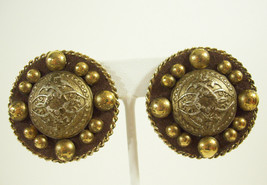 Vintage Antiqued Gold Plate Balls Bubble Clip on Earrings Big Estate Sig... - $13.81