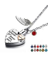 PREKIAR Heart Cremation Urn Necklace for Ashes Angel Wing Jewelry Memori... - $20.82