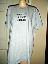 "NWOT GILDAN GRAY SHORT SLEEVE ""CRAZY AUNT JULIE"" T-SHIRT SIZE L - $17.41"