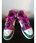 Heelys Rainbow Shoes Roller Skate Bottoms Multi Color Glittery Size 7 US - $32.43