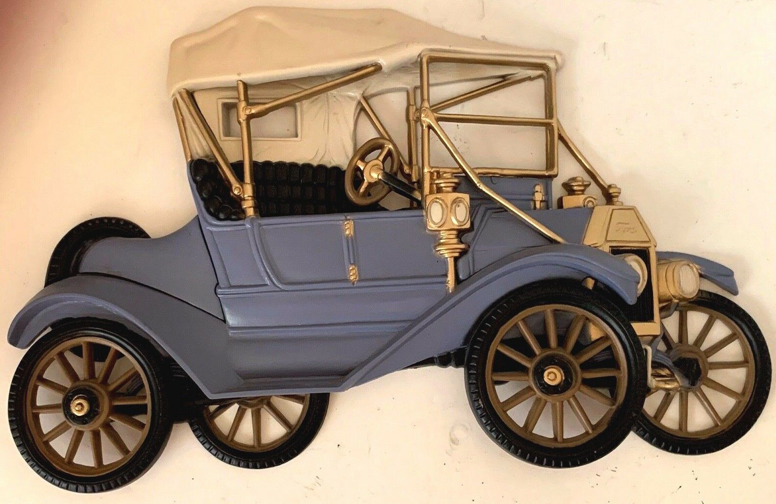 Ford Model T Blue / Cream / Gold Wall Art Burwood Home Products 1977 MCM #2028-1 - $14.85