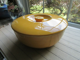 VTG HALL REFRIGERATOR WARE YELLOW LEFTOVER LG ROUND BOWL W/LID HOTPOINT ... - $28.66