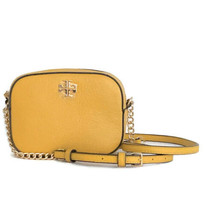 Tory Burch Round Logo Crossbody ~ Solarium (Marigold Yellow) Leather New... - $134.95