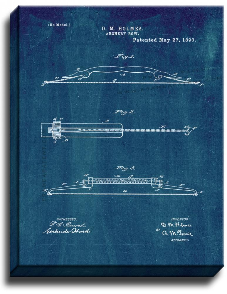 Primary image for Archery Bow Patent Print Midnight Blue on Canvas