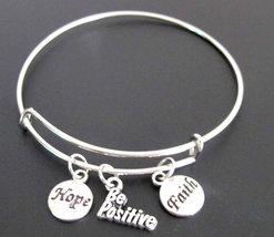 Be Positive Bangle Bracelet, Adjustable Expandable Bangle Bracelet, Be P... - $12.00