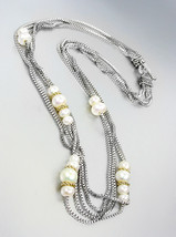 NEW Multistrands Genuine Pearls Silver Box Chain Cables Toggle Necklace - $29.99