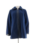 Dennis Basso Water Resistant Jacket Striped Lining Navy S NEW A289173 - $44.53