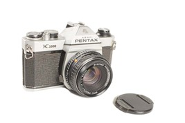Vintage Early Pentax K1000 Film Camera with Pentax-M 1:2 50mm Lens Works Pro Use - $175.00