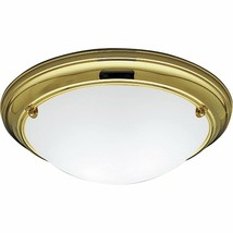 Polished Brass Satin Finish Flush Mount Ceiling Light Progress Lighting ... - $76.26