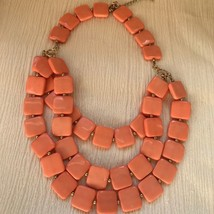 Estate Large Coral Orange Plastic Square w Goldtone Spacer Bead Multistrand - $8.59