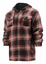 Men's Heavyweight Zip Up Fleece Plaid Sherpa Lined Brown Hoodie Jacket XL
