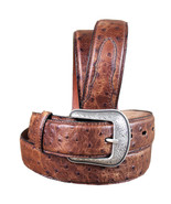 36 Inch 3D Mens Ostrich Print Leather Belt Removable Silver Buckle U-4-36